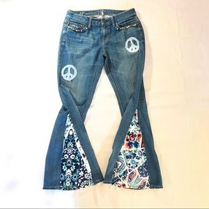 Upcycled Refashioned Boho OOAK Embellished Jeans